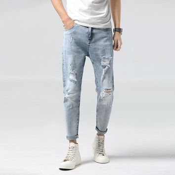 Men Jeans Stretch Skinny Hole Ripped Washed Casual Solid 2018 Summer Men Denim Jeans Retro Bleached Ankle-Length Pants