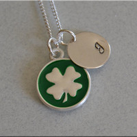 Personalized Shamrock Necklace, Irish Necklace, Shamrock Jewelry, Initial charm necklace, Personalized, monogram jewelry, St. Patrick's Day