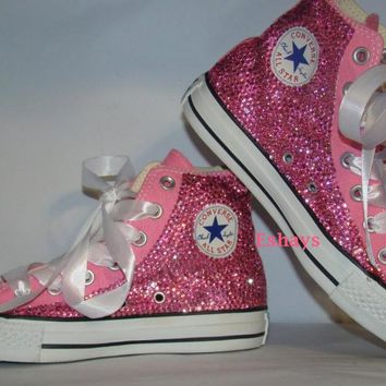 Pink High Top Sparkled Rhinestones Chucks with Ribbon Laces