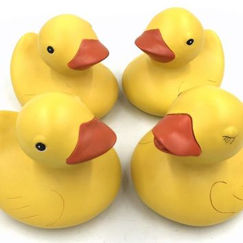 Yellow Ducks Chicks Statues that Look Like Favorite Bathtub Toys Set of 4