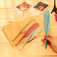 1 Piece Korean Stationery Cute Feather Pen Advertising Creative Bent School Office Gel Pens