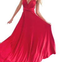 Red Halterneck Cross Back Evening Dress