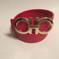 Salvatore Ferragamo Red Belt Gold Buckle Fashion Horseshoe Designer Unisex