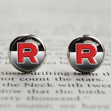 Pkmn earrings Team Rocket symbol