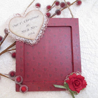 Our 1st. Christmas Picture Frame Ornament - Wedding - Mr. & Mrs. - Rustic - Shabby Chic