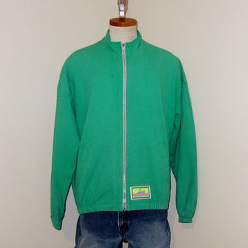 Vintage Radical 80s OCEAN PACIFIC Surf Beach Bright Green Men Medium Large Full Zip Cotton Lightweight JACKET