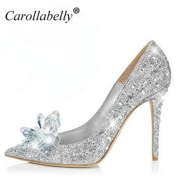 New Rhinestone High Heels Cinderella Shoes Women Pumps Pointed toe Crystal Wedding Sho