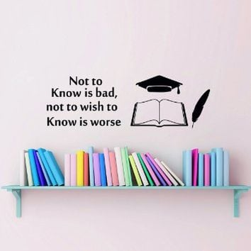 Wall Decals Not to Know is Bad Not to wish Quote Decal Vinyl Sticker Book Nursery Bedroom Home School College Room Decor Art Murals MN296