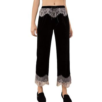 POL Women's Eyelash Lace Trimmed Velvet Ankle Length Lounge/Pajama Pants with Drawstring Waist