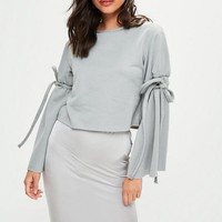 Missguided - Gray Tie Sleeve Cropped Sweatshirt