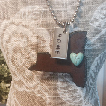 NEW YORK JERSEY Maine or Massachusetts State Shape Necklace faux heart and tag home or love made of rusty recycled metal