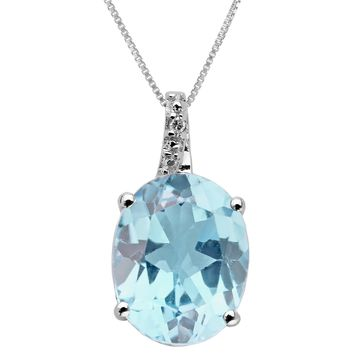 2.25 Ct Heart Sky Blue Aquamarine and Diamond Sterling Silver Pendant 18""