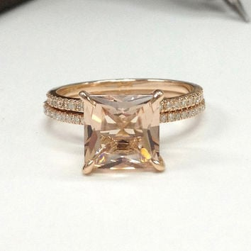 Diamond Wedding Ring Set!Morganite Engagement Ring 14K Rose Gold,8mm Princess Cut Morganite,Claw Prongs,Stackable Matching Band,Bridal ring