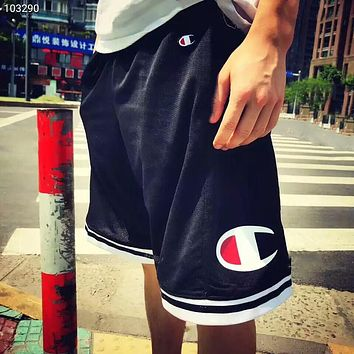 Champion mesh breathable grass writing embroidery big logo basketball five-point shorts F-AG-CLWM navy blue