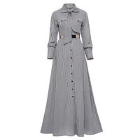Women Striped Maxi Dress Floor-length Bowknot Tie Long Sleeve Loose Button Dress Spring Pocket Elegant A-line Casual Long Dress
