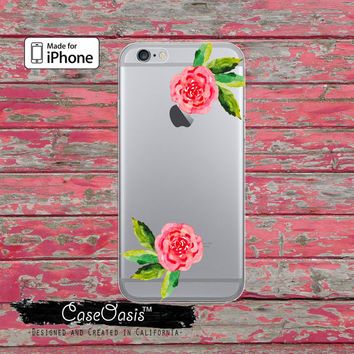 Watercolor Rose Flower Cute Floral Tumblr Clear Rubber Phone Case For iPhone 6, iPhone 6 Plus +, iPhone 5/5s, iPhone 5c Transparent Case