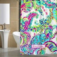 New Custom Lilly Pulitzer Colorful Shower Curtain High Quality Size 60X72 Inch