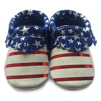 White & Blue American Flag Leather Booties