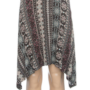 Full Tilt Linear Mix Media Girls Skater Skirt Multi  In Sizes