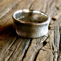 Handmade Wedding Band in Sterling Silver with Finger Print Pressed into Surface with Oxidized & Matte Finish Size 9.5/8.5mm