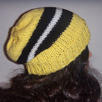 Knit striped hat Yellow, black and white, Spring accessories, Womans Hat
