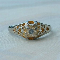 Solitaire Ring Size 8.5 Rhodium Plated Clear Rhinestone Vintage Jewelry