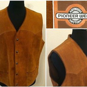VINTAGE PIONEER WEAR BROWN SUEDE LEATHER WESTERN VEST FAUX FUR LINED MENS 44