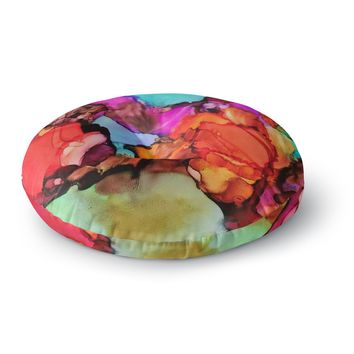 "Abstract Anarchy Design ""Caldera #3 "" Pink Teal Round Floor Pillow"