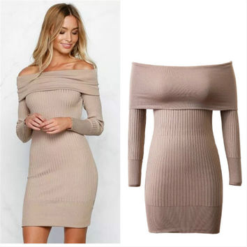 Off Shoulder Bodycon Knitting Long Sweater