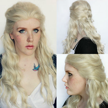 Sale // Blonde wig, Blonde lace front wig, lace front wig, long wavy blonde wig - Scene emo wig, cosplay wig // Marshmallow