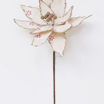 "Cream Linen Poinsettia with Snowflake Print - 24"" Tall"