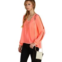 Sale-coral Daydreamer Chiffon Top
