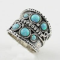 Fire Opal Sterling Silver Band Ring