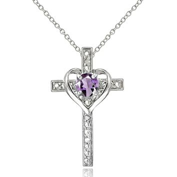 Sterling Silver Gem Cross Heart Pendant Necklace for Girls, Teens or Women