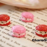 Cake CABOCHONS Strawberry Cream Macaroon cab 8pcs by CharmTape
