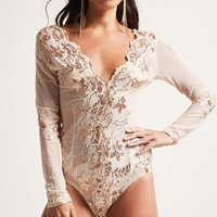 Sheer Mesh Sequin Bodysuit