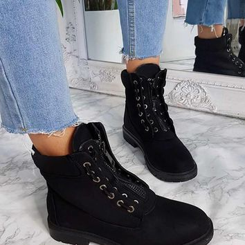 New Black Round Toe Chunky Cross Strap Fashion Ankle Boots