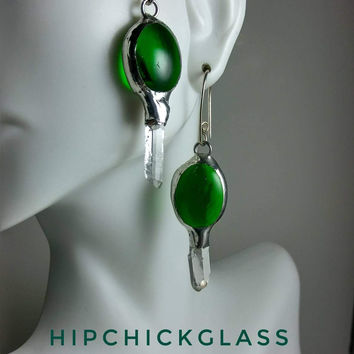 Green Glass Earrings with quartz crystal points