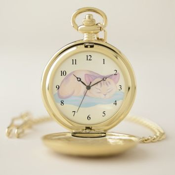 Dreaming Kitten Pocket Watch