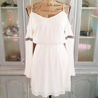 THE BOHO LIFE OFF THE SHOULDER DRESS IN CREAM