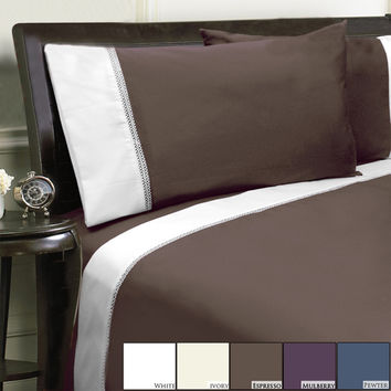 Veratax Home Decorative Bedding Collection Duet 800Tc Pillowcase Pair King Espresso