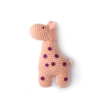 Light-Orange Giraffe Handmade Amigurumi Stuffed Toy Knit Crochet Doll VAC