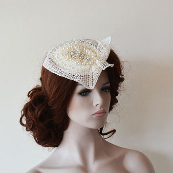 Wedding Accessory, Wedding Head Piece, Unique Bridal Cap, Wedding Cap, Vintage Style, Pearl Headbands, Bridal Hair Accessories