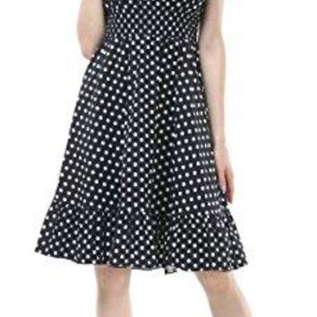 BITENCON Womens 1950s Vintage Polka Dot Smock Swing Party Dress with Short Sleeve