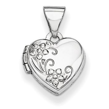 14kt White Gold Flower Swirled Double Photo Girls Locket Pendant