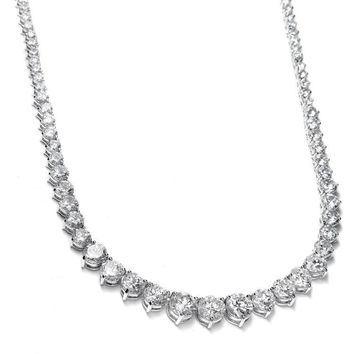 Graduated Cubic Zirconia Bridal Tennis Necklace