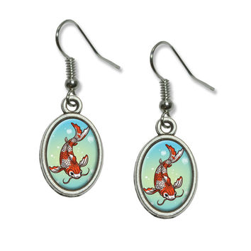 Koi Fish - Japanese Chinese Asian Dangling Drop Oval Earrings