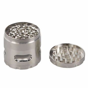Zinc Alloy Hand Crank Herb Mill Crusher Tobacco Smoke Grinder Silvery  55mm   V1NF