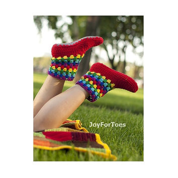 Crochet Boots for the home Joy Rainbow Crochet Slippers