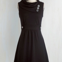 Nautical Mid-length Sleeveless A-line Coach Tour Dress in Noir